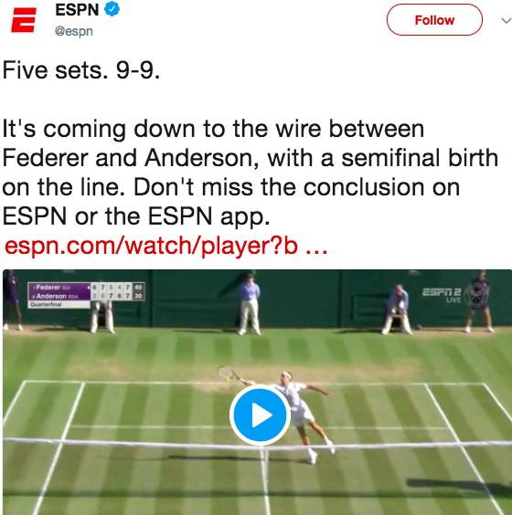 WatchESPN Promotion – Wimbledon Quarterfinal